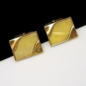 SWANK-Vintage-Mens-Cuff-Links-Shiny-Gold-Plated-Faux-Mother-of-Pearl-MOP-Swirls