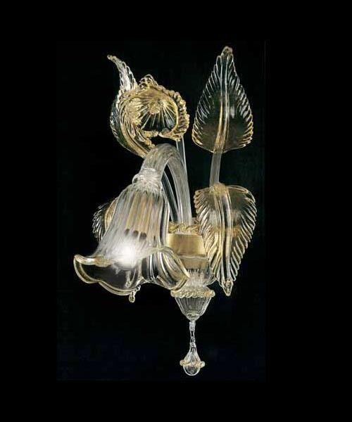 Applique di Cristallo murano -1006/AP1 Cristallo di Oro Montatura Oro 24k 3bfb2a