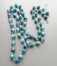 Long glass turquoise bead necklace . speckled blue glam flapper elegant jewelry