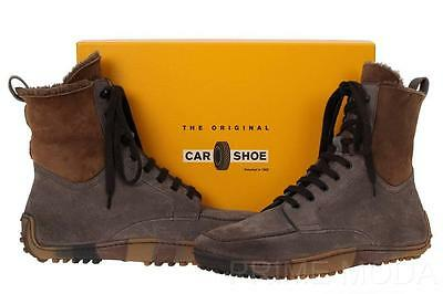 NEW CAR SHOES BY PRADA MEN'S SHEARLING LEATHER LACE-UP BOOTS CASUAL SHOES 10/11