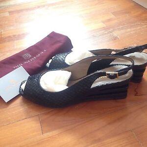 Bruno Magli Noir Sling Back Wedge Shoes Brand New-afficher Le Titre D'origine Remise En Ligne