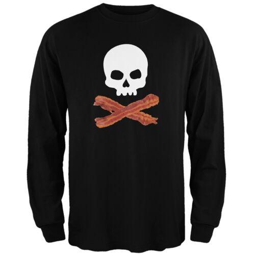 Bacon Skull And Crossbones Black Adult Long Sleeve T-Shirt