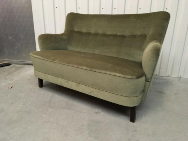 Sofa, velour, KAN LEVERES / DELIVERY, Fin retro sofa med…