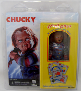 Near-Comme-neuf-in-box-NECA-Child-039-s-Play-GOOD-GUYS-chucky-5-5-034-Habille-Style-Retro-Action