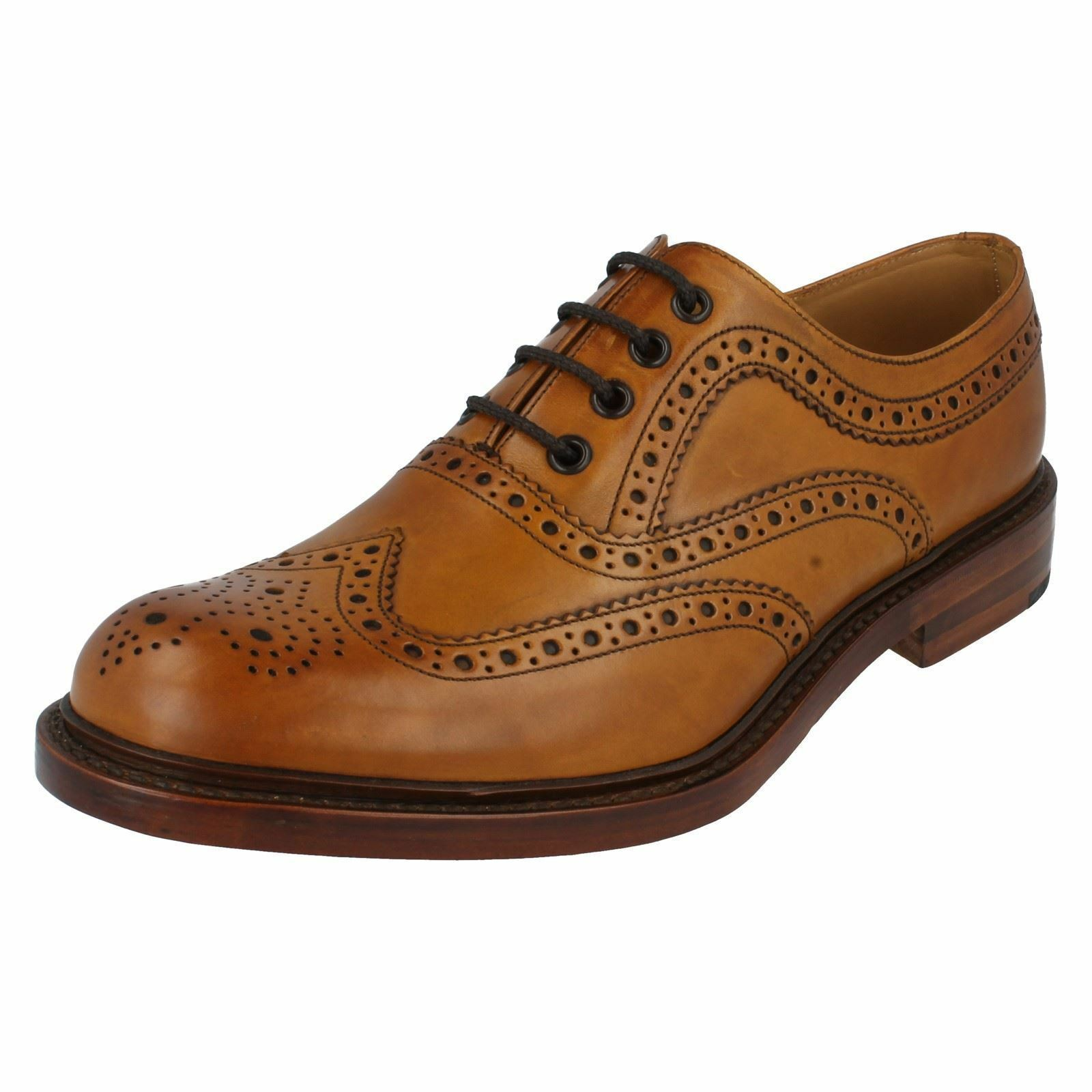 Hombre Loake Marrón Bruñido Pantorrilla Leather Zapato Oxford con Cordones Ashby