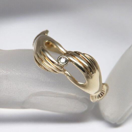 Ring  mit 2 Händen Diamant Besatz in 333 8K yellowgold