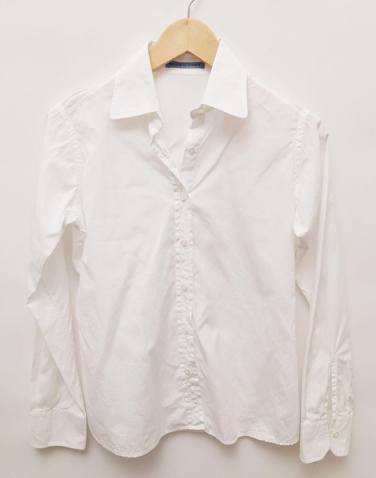 Seize Our Vignt XS Weiß Cotton Button Down Blouse