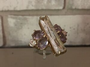 BANANA-REPUBLIC-Ring-Large-Clear-Purple-Crackle-Crystal-Cocktail-Statement-Sz-6