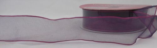 """SHEER RIBBON~PURPLE WITH HOT PINK EDGE~1 1//2/"""" WIDE 5 YARDS ~WIRED~,"""