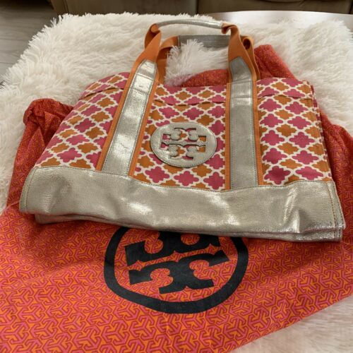 Tory Burch Metallic Leather/ Fabric Tote With Dust