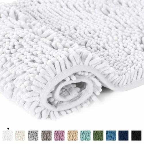 H.VERSAILTEX Grey Rugs for Bathroom Slip-Resistant Shag Chenille Bath Rugs Mat E