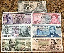 UNCIRCULATED MEXICO SET 7 BANKNOTES LOT 70'S 80'S 5 10 20 50 100 500 1000 pesos