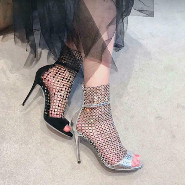Moda mujeres zapatos sin puntera Alta Tacón Stiletto Rhinestone Sandalias botas Romano