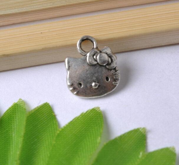 NP162 Wholesale Lots 20pcs Tibetan Silver cat Charms Pendants 15x12MM