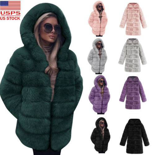 Women Coat Faux Fur Warm Overcoat Fashion New Efterår Luksus Hooded Winter RSgOdq