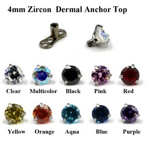 Details About 4mm Zircon Micro Skin Diver Dermal Piercing Top Dermal Anchor Top Body Jewelry