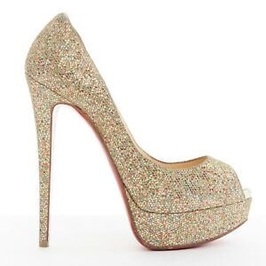 34e628e726444 Image is loading CHRISTIAN-LOUBOUTIN-Lady-Peep-150-gold-glitter-peep-