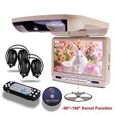 Headphones+BEIGE9'' HD Overhead Flip Down Car DVD Player Game Monitor Roof Mount
