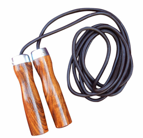 2Fit Leather Skipping Rope Weight Wood Handle Exercise Fitness Speed Jumping