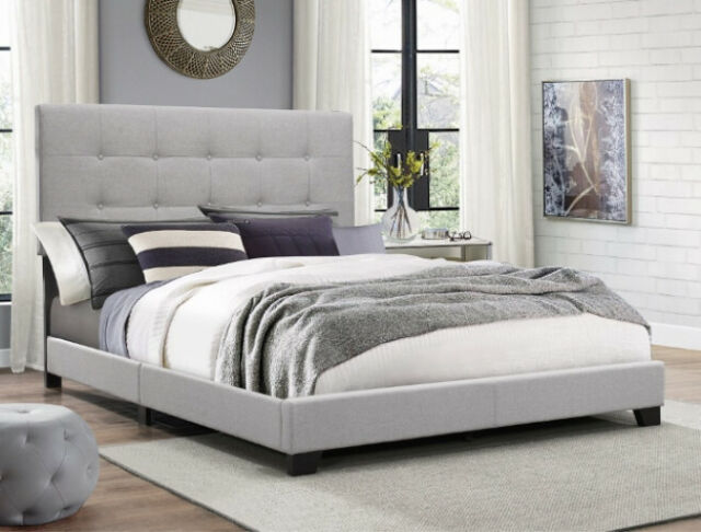 King Size Upholstered Button Tufted Headboard Platform Bed Frame Foundation Set For Sale Online Ebay