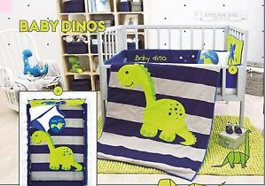 Baby Boy Blue And Gray 6 Piece Dinosaur Nursery Crib
