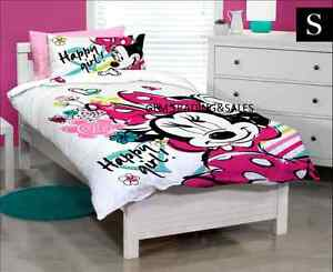 Single Bed Disney Minnie Mouse Pink Girls Quilt Doona Cover Set