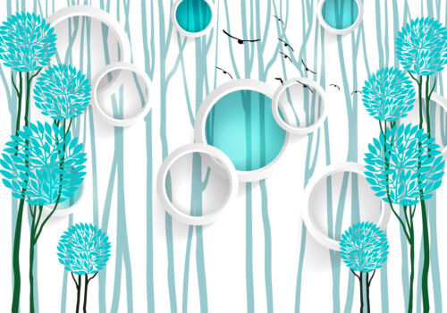 Fototapete Fenster Rund Vögel Wald türkis Blätter 3D Kreise Bäume