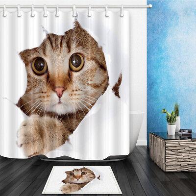 Cute cat on book shelf cartoon style Bathroom Fabric Shower Curtain Set 71Inch