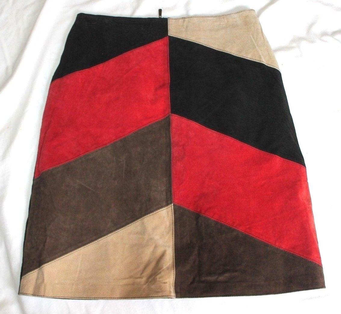 Marcelle Renee Leather Patchwork Vintage Suede Below Knee Skirt 32  Waist VTG 12