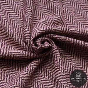 145cm Wide Poly Wool Blend Heavy Wool Blend Fabric Purple Chevrons