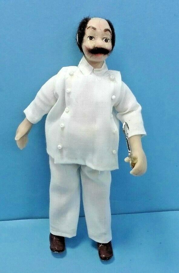 Dollhouse Miniature Vintage Hand Sculpted Chef Doll w spoon 1:12 scale
