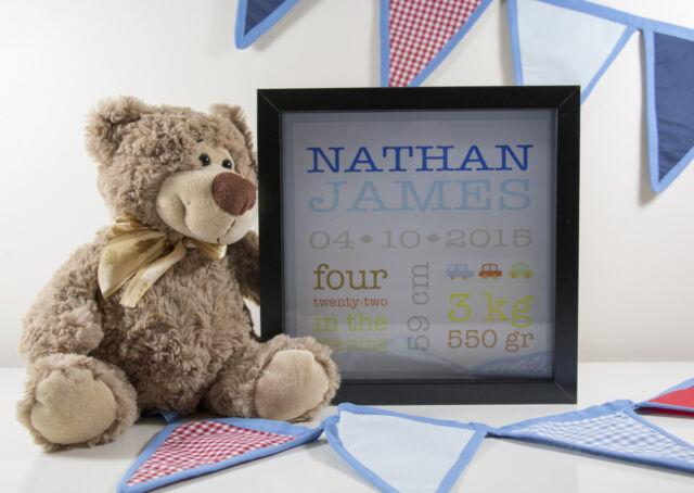Personalised Baby Boy Birth White Box Frame Newborn Present Gift Custom Printed