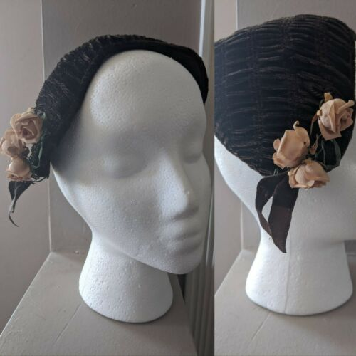Vintage 50s Half Hat Brown Flowers