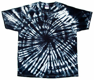 Tie dye t shirts new colors black spiral variation sz s m for Black and blue tie dye t shirts