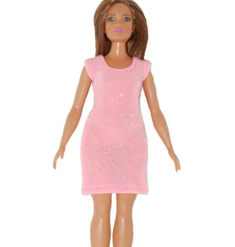 Short Dress made for Curvy Barbie Fashionista Doll Clothes TKCT pink glitter