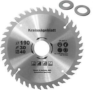 Kreissägeblatt für Holz Ø190 x30mm+2 Reduzierringe 16//20mm Z=40 HM Holzsägeblatt