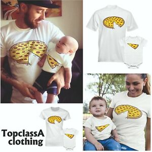 Pizza-Slice-Daddy-Dad-Son-Daughter-Mum-Mom-Fathers-Day-Matching-T-Shirt-Single