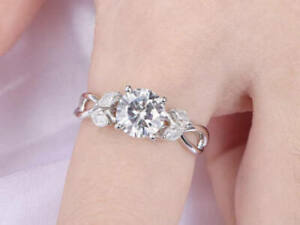 Details about  /1ct White Real Certified Round Moissanite Diamond 14k Yellow Gold Birthday Ring