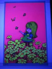 Vintage Childrens Blacklight Poster BUTTERFLY 1969 Gary Patterson Little People