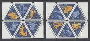 Sweden-Sc-2354-2355-MNH-1999-Signs-of-the-Zodiac-2-booklet-panes-of-6-VF
