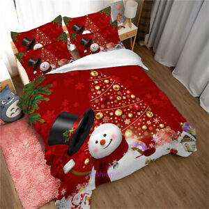 Christmas Snowman Donna Duvet Quilt Cover Set Single/Queen/Double/King Bed Linen