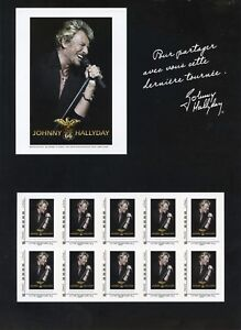 TIMBRE-FRANCE-NEUF-2009-FEUILLE-collector-JOHNNY-HALLYDAY-tour-66-pour-les-fans