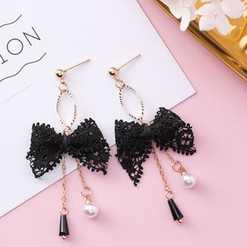 Süß Spitze Schleife Quaste Perlen Kristall Ohrringe Schmuck für Damen Accessoire