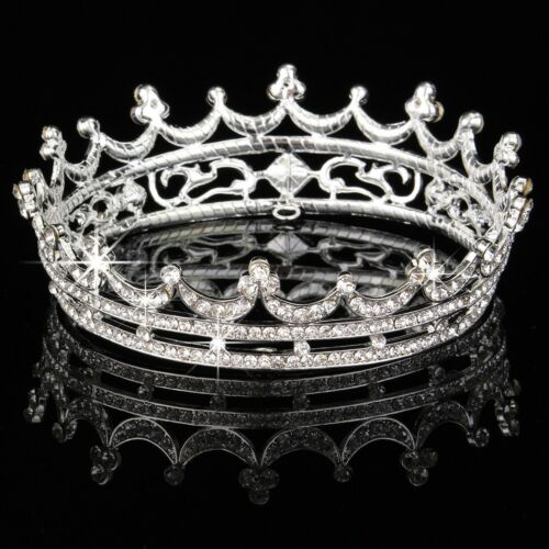 Queen Clear Austrian Rhinestone  Tiara  Bridal Pageant Prom Party Crystal Crown