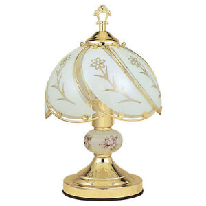 Table-Lamp-14-25-In-3-Way-Reliable-Touch-Sensor-Control-Brushed-Gold-Base-Floral