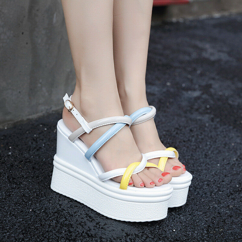 Womens Wedge Heels Cross Slingback Platform Sandals Peep Top Creepers shoes Sexy
