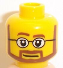 Lego Yellow Head x 1 Beard Black Angular Pupils Teeth Smile for Minifigure