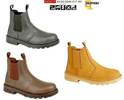 Grafters Brown Dealer Safety Leather Pull On Boots Ankle Steel Toe Twin Gusset