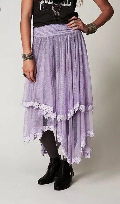 XS Free People Mesh Half Slip Skirt Purple Intimately