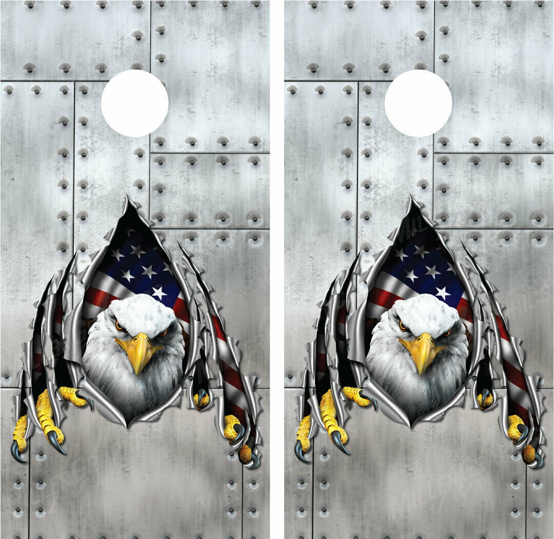 Bald Eagle Rippled Metal Riveted Metal Cornhole Board Wraps  Decals Graphics  low-key luxury connotation